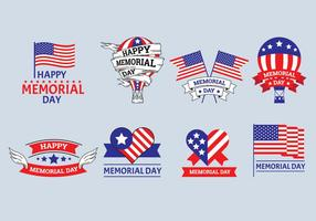 Ensemble de vecteurs d'étiquettes Memorial Day