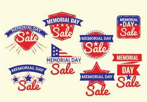 Ensemble de vecteurs d'étiquettes Memorial Day avec style vintage ou rétro
