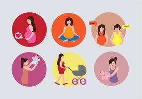 Vecteurs d'illustrations d'icônes de maternité