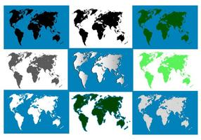 Pack de la carte mondiale de la silhouette vecteur