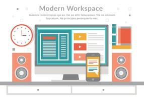 Espace de travail moderne Vector Flat Design moderne