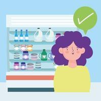femme au supermarché avec des produits laitiers vecteur