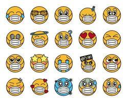 émoticône avec jeu d'icônes de masque facial