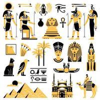 jeu d'icônes décoratives egypte vecteur
