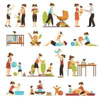jeu d'icônes de baby-sitter vecteur