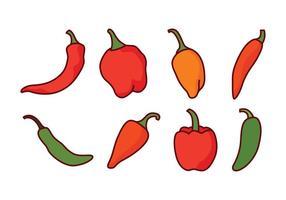 Paquet de vecteur de poivre chili