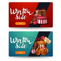 bannières de réduction hiver avec des cadeaux isolés