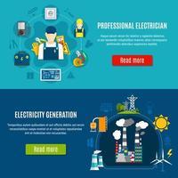 ensemble de bannière de modèle d'électricien et de production d'électricité vecteur