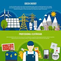 ensemble de bannière de modèle électricien et énergie verte vecteur