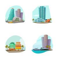 ensemble de paysage urbain de Miami vecteur