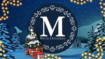 carte postale de Noël avec logo rond vecteur