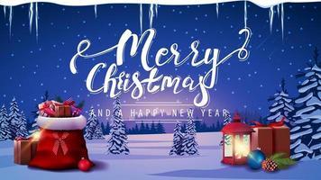 joyeux noël et bonne année carte postale vecteur