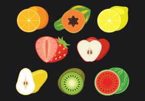 Ensemble d'icônes de vecteur de tranches de fruits