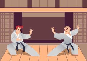 Deux hommes pratiquant les arts martiaux dans le Dojo vecteur