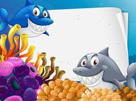 modèle de papier vierge avec de nombreux personnages de dessins animés de requins dans la scène sous-marine