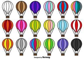 Collection de vecteur d'icônes de ballon à air chaud