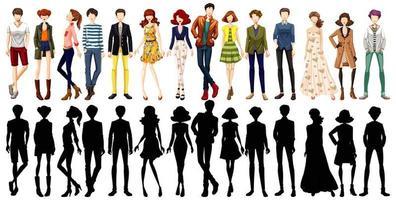 ensemble de personnages urbains et sa silhouette vecteur