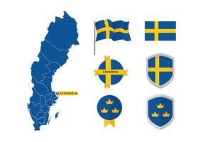 La carte de la Suède et le vecteur libre de drapeau