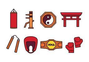 Paquet d'icônes d'arts martiaux vecteur