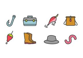 Ensemble d'icônes de pêche vecteur