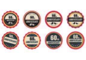 Ensemble de 60ème Badges vecteur