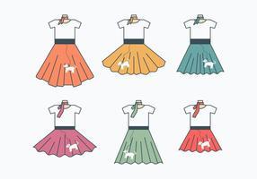 Collection Retro Skirt Poodle vecteur