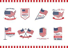 Vecteur de badges du Memorial Day