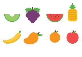 Vecteur d'icônes de fruits plats