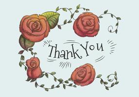 Des roses rouges mignonnes et des feuilles avec le texte de remerciements vecteur