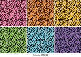 Vector Colorful Tiger Stripes Background Set