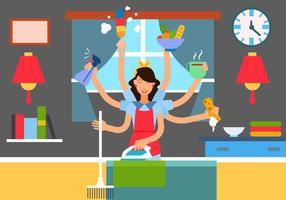 Femme en situation multitâche vecteur