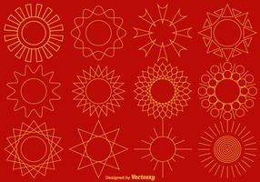Collection de vecteurs d'icônes de soleil de ligne vecteur