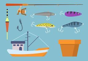 Vecteurs d'éléments de pêche plats
