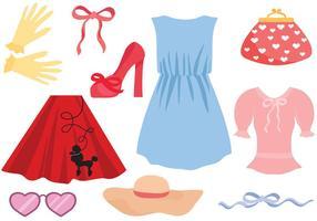 Free Retro Women Vêtements Vecteurs vecteur