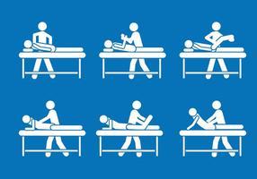 Ensemble vectoriel de symboles de pictogramme de physiothérapeute
