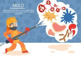Nettoyage des moules et des bactéries Vector Background