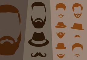 Collection de moustaches style hipster