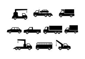 Vecteur gratuit de collection de voitures Silhouette