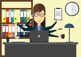 Multi-tâches femme illustration vecteur gratuit