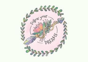 Cute Flops tribaux de Boho avec des fleurs et des feuilles avec une citation de motivation vecteur