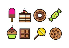 Paquet d'icônes alimentaires sucrées vecteur
