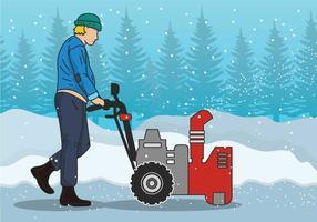 Illustration vectorielle souffleur de neige