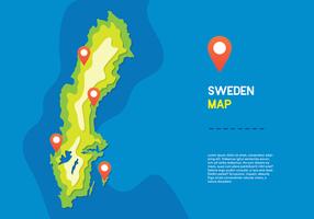 Vecteur carte de la Suède