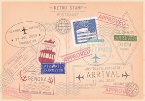 Cachet et vecteurs de timbres de cartes postales vecteur
