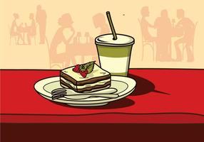 Gâteau De Tiramisu Dans Un Vecteur De Restaurant