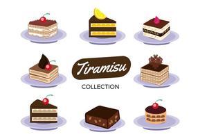 Vecteur gratuit de la collection de gateau Tiramisu