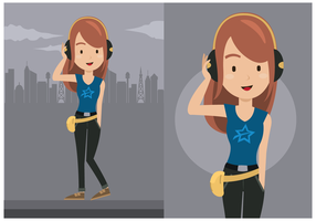 Cute Young Woman Character Vector