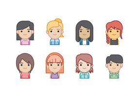 Ensemble d'icônes gratuit femme Avatars vecteur