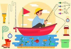 Pêcheur avec de l'équipement dans le vecteur de bateau