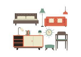 Ensemble d'icônes de meubles gratuits vecteur